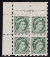 Canada MNH Scott #338 2c Queen Elizabeth II - Wildling Portrait - Plate #7, Upper Left - Num. Planches & Inscriptions Marge