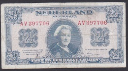 Netherlands, 2 1/2 Gulden, P.71 (1945) VG - [2] 1815-… : Kingdom Of The Netherlands