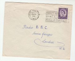 1959 GB Stamps COVER South Kensington SLOGAN Pmk CORRECT ADDRESSING WHAT A BLESSING - 1952-.... (Elizabeth II)