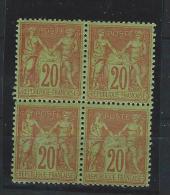 N° 96** BLOC De QUATRES 30c Brique Sur Vert - Voir Scan - 1876-1898 Sage (Type II)
