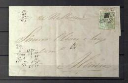 1873 BARCELONA, CARTA CIRCULADA A ALCUDIA, MAT. ROMBO DE PUNTOS, TRÁNSITO PALMA DE MALLORCA, LLEGADA - 1873 1. Republik