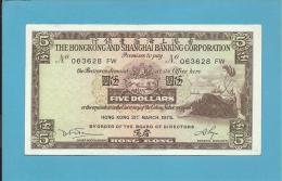 HONG KONG - 5 DOLLARS - 1975 - P 181.f - 2 Scans - Hong Kong