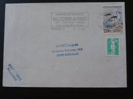 12 Aveyron Rodez Rallycross 1993 - Flamme Sur Lettre Postmark On Cover - Marcophilie (Lettres)