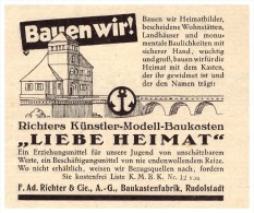 Original Werbung - 1925 - Ad. Richter & Cie , Modell-Baukasten , Fabrik In Rudolstadt , Spielzeug !!! - Antikspielzeug