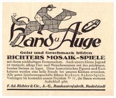 Original Werbung - 1925 - Mosaik , Ad. Richter & Cie , Baukastenfabrik In Rudolstadt , Spielzeug !!! - Antikspielzeug