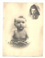 Photo (v18 X 24 Cm) Surréaliste - Photo Montage D'un Bébé Pensant à Son Papa  - Surréalisme - Personnes Anonymes