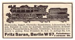 Original Werbung - 1925 - Spielzeugeisenbahn , Fritz Saran In Berlin , Eisenbahn , Dampfmaschine , Spielzeug !!! - Antikspielzeug