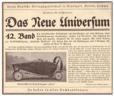 """Original Werbung - 1925 - Propellerwagen """" HELICA """" , Das Neue Universum , Verlag , Buchhandlung , Automobil !!! - KFZ"""