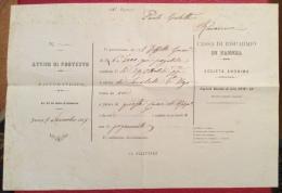 FAENZA - CASSA DI RISPARMIO : AVVISO DI PROTESTO RACCOMANDATO DELL'1 NOVEMBRE 1885 - Werbepostkarten