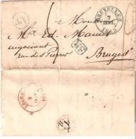 LAC du 7/7/1842 CDC Bleu Bruxelles Bo�te AT de ST.JOSSE TEN NOODE 5 ports S.R. v/Bruges