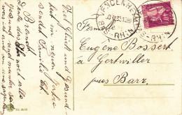 CP Fantaisie Affranchie Y&T 281 Obl. VFNDENHEIM Du 30 XII 33 (E Cassé) - Cachet Autoplan - Marcophilie (Lettres)