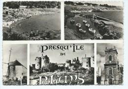 CPSM PRESQU'ILE DE RHUYS, PLAGE DE PORT NAVALO ET DE KERFAGO, CHATEAU DE SUSCINIO, VIEUX MOULIN A PENVINS, MORBIHAN 56 - Autres Communes