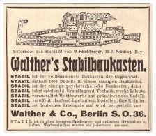 Original Werbung - 1925 - Walther Stabil Baukasten , Walther & Co In Berlin , Spielzeug !!! - Andere Sammlungen