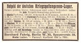 Original Werbung - 1925 - Notgeld Der Deutschen Kriegsgefangenenlager , B. Fahrig In Berlin !!! - [11] Sammlungen