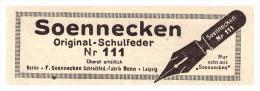 Original Werbung - 1925 - Soennecken , Original-Schulfedern , Bonn  !!! - Federn