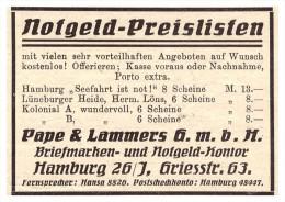 Original Werbung - 1925 - Notgeld , Pape & Lammers GmbH In Hamburg , Briefmarken , Griesstrasse !!! - [11] Sammlungen