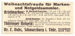 Original Werbung - 1925 - Notgeld , Briefmarken , Dr. Dubs In Schwarzburg I. Thüringen , Erfurt , Philatelie !!! - Sammlungen