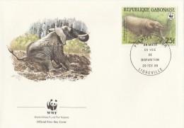 """Gabon 1988 - FDC WWF"""" - Timbres Yvert & Tellier N° 640 à 643. - Gabon (1960-...)"""