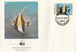 "Maldives 1986 - FDC WWF"" - Timbres Yvert & Tellier N° 1077 à 1080. - Maldives (1965-...)"