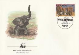 "Ouganda 1983 - FDC WWF"" - Timbres Yvert & Tellier N° 316 à 319. - Ouganda (1962-...)"
