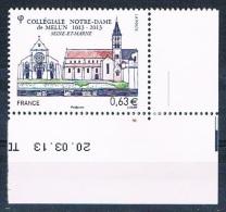 France 2013 - Réf. 4743 - Collégiale Notre Dame De Melun - Coin De Feuille Daté 20.03.13 - Neuf** - France