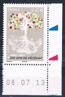 France 2013 - Réf. 4795 - Dix Ans De Mécénat - Coin De Feuille Daté 08.07.13 - Neuf** - France
