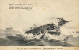 CPA En Mer - Un Navire à La Côte - Sauvetage De Quelques Naufragés - Bateaux