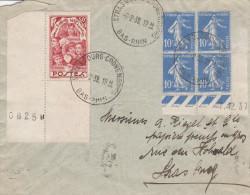 Env Affr. Y&T 379 X 4 (coin Daté) + 312 Obl STRASBOURG CRONENBOURG Du 8.2.39 - Cachet Autoplan - Marcophilie (Lettres)