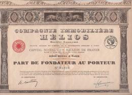 COMPAGNIE IMMOBILIERE HELIOS -PART DE FONDATEUR -100 FRANCS - - Altri