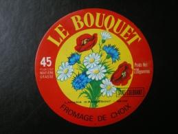 étiquette De Fromage  : Le Bouquet , Laiterie D´ANGLEMONT Vosges 88  ( Fleurs , Coquelicot , Bleuet , Pâquerette ) - Quesos