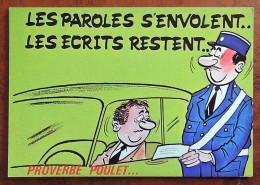CP - Série Proverbe - Proverbe Poulet - 873/4 - Les Paroles S'envolent, Les écrits Restent - Humor