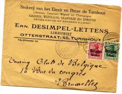 TOURNAI Belgique Occupation Allemande BELGIEN 10 Et 5 Cent Cachet TURNHOUT Du 21.3.1917 + Cachet Violet Censure Sur....G - Non Classificati