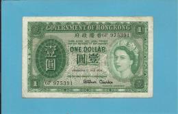 HONG KONG - 1 DOLLAR - 1959 - P 324A.b - QUEEN ELIZABETH II - 2 Scans - Hong Kong