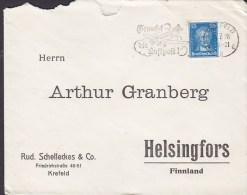 Germany Deutsches Reich RUD. SCHELLECKES & Co., KREFELD 1928 Cover Brief To Finland 25 Pf. Goethe Stamp - Deutschland