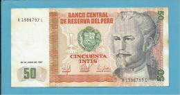 PERU - 50 INTIS - 26.06.1987 - Pick 131.b - NICOLAS DE PIEROLA - 2 Scans - Peru