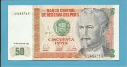 PERU - 50 INTIS - 26.06.1987 - Pick 131.b - UNC. - NICOLAS DE PIEROLA - 2 Scans - Perú