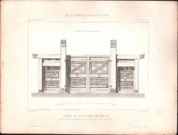 PLAN - PORTE De La SECTION JAPONAISE,  EXPOSITION UNIVERSELLE 1878 - Lot  2 PLANS - Architecture