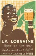 Dept Div -vosges- Ref Z449- La Lorraine -biere De Xertigny -restaurant De L Aof -exposition Coloniale De Paris - - Xertigny