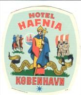 ETIQUETA DE HOTEL  - HOTEL HAFNIA  - KOBENHAVN - Hotel Labels