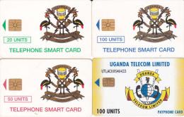 4 Télécartes OUGANDA Lot2 (bon état) - Ouganda