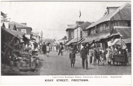 Kissy Street, Freetown (stalls, Policeman)  Black & White Postcard 1917 - Sierra Leone