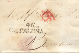 Prefilatelia Año 1828 Carta Villanueva Y Geltru A Barcelona  Marcas V46 Cataluña, Porteo - ...-1850 Prefilatelia