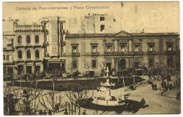 Camara De Representantes Y Plaza Constitucion (Montivideo) Early Black & White Postcard - Uruguay