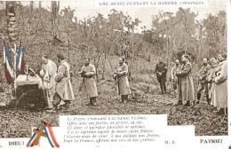 """MILITARIA - RELIGION - GUERRE 14-18 : Carte Avec Ajout D'une Croix Et De Rubans Tricolores - """" Une Messe : L'Offertoire"""" - Guerre 1914-18"""