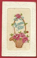 DVO1-02  Carte Brodée Bonne Fête, Corbeille De Fleurs. Circulé Sous Enveloppe. - Brodées