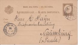 E9 Ungarn Hungary Hongrie Ganzsache Stationary Entier Mi. P 15 Von Varazdin Nach Naumburg - Enteros Postales