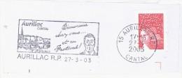 FRANCE. FRAGMENT POSTMARK. AURILLAC. FLAMME - Marcofilia (sobres)