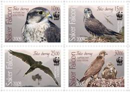 W434 Kyrgyzstan 2009 WWF Saker Falcon Eagle Bird 4v