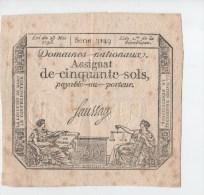 ASSIGNAT DE CINQUANTE SOLS.SIGNE FAUSSAY - Assignats & Mandats Territoriaux