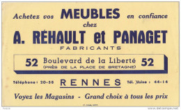 BUVARD PUBLICITAIRE  NEUF  MEUBLES  PANAGUET ET REHAULT  52 BOULEVARD DE LA LIBERTE    A RENNES EN ILLE ET  VILAINE
